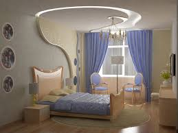 beautiful ceiling shape design and mesmerizing blue window curtain