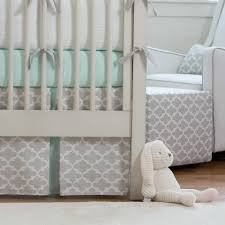 Geometric Crib Bedding by French Gray And Mint Quatrefoil Crib Bedding Carousel Designs