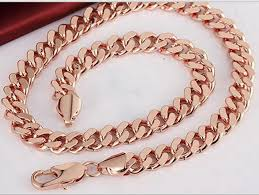 mens rose gold necklace images Chunky heavy cuban chain solid rose gold gp mens necklace chain jpg
