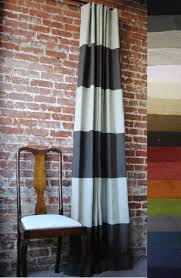 White And Navy Striped Curtains 108