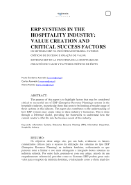 erp systems in the hospitality industry value creation and