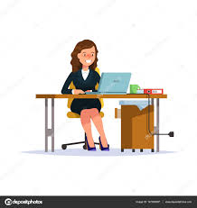 employé de bureau femme d affaires plate illustration vectorielle assis à bureau