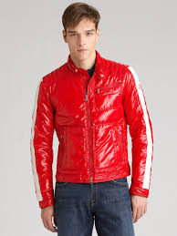 red leather motorcycle jacket moncler motorcycle jacket in red for men lyst