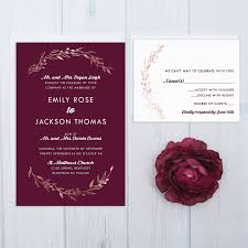 burgundy wedding invitations rose gold wedding invitation