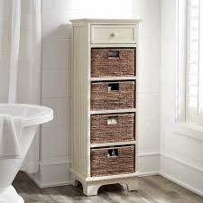 slimline bathroom storage presenting brown varnished wooden vanity