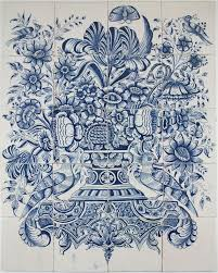 flower in vase drawing antique dutch delft tile mural with a flower vase in blue 18th