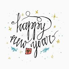 happy new year card hand lettering calligraphic inscription by