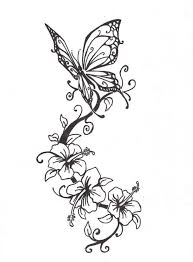 butterfly with flowers design hanslodge cliparts