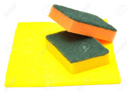 yellow rag and kitchen sponge isolated on white stock photo