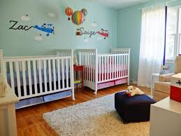 casual picture of baby girl and boy shared bedroom decoration casual picture of baby girl and boy shared bedroom decoration using truck helicopter baby room wall mural including light blue pink baby bed valance and
