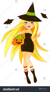 cute halloween witch costume decorated stock vector 83475640