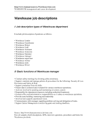 Warehouse Job Resume by Warehouse Worker Job Description Resume Resume For Your Job