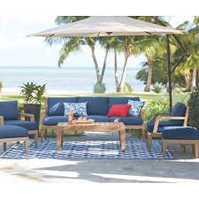 home decorators collection bermuda 6 piece all weather eucalyptus home decorators collection bermuda 6 piece all weather eucalyptus wood patio deep seating set with indigo fabric cushions 7633810360 the home depot