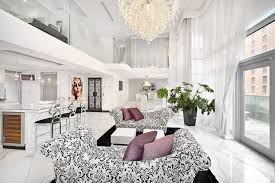 Chandelier For Living Room Contemporary Living Room With High Ceiling U0026 Chandelier In New