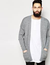 Mens Open Cardigan Asos Longline Cardigan With Open Front In Gray For Men Lyst