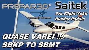 prepar3d com beech baron 58 e saitek pro flight quase varei
