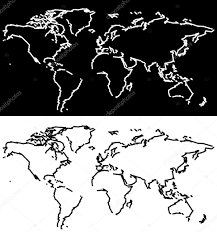 Black And White World Map World Map Scribble Outlines Black And White U2014 Stock Vector