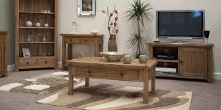 Tilson Solid Rustic Oak Living Room Furniture Glass Display - Oak living room sets