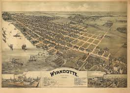 United States Map Poster by Historic Map Of Wyandotte Michigan 1896 Wayne County Poster Lakes