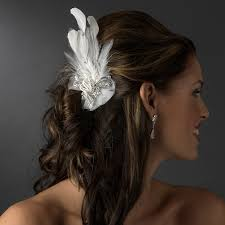 bridal hair clip silver clear rhinestone feather bridal hair clip 462 or clip