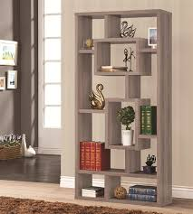 unit bookcase in distressed grey finish by coaster 800159