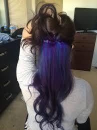 purple and blue hidden in black hair hair pinterest black