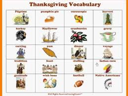 thanksgiving vocabulary thanksgiving activities