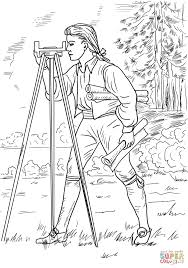 young george washington surveyor and mapmaker coloring page free