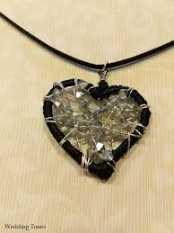 crystal shaped necklace images Handmade heart shaped crystal necklace wedding tones jpg