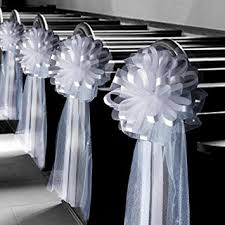 wedding bows large assembled white wedding pew bows 10 wide set