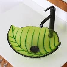 elite spring leaves design tempered glass bathroom vessel sink