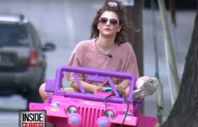 purple barbie jeep college student driving barbie jeep after losing her license