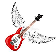 electric guitar with wings stock vector illustration of bass