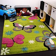 Children S Room Rugs Kids Carpet With Butterfly Design Childrens Room Rug Green Cream