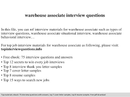 Warehouse Associate Sample Resume by Warehouse Associate Interview Questions