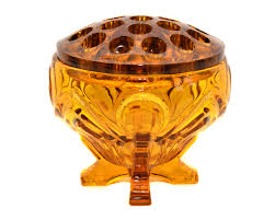 antique amber glass rose bowl vintage rose bowl waffle top flower
