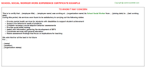 social worker work experience letters