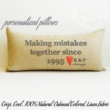 10 year anniversary present mistakes pillow linen pillow anniversary gift custom