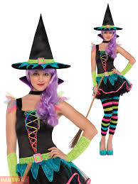 girls neon witch costume rainbow childs teen halloween fancy dress