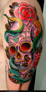 colorful traditional snake with skull and rose tattoo on left half