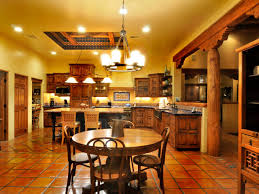 splendid spanish kitchen decor with classic yellow cabinets and