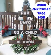 decorating cents wood christmas tree sign