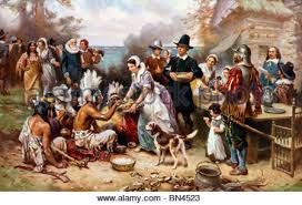 the thanksgiving 1621 pilgrims and natives gather to