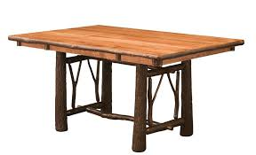 hickory dining room chairs rustic hickory twig trestle table