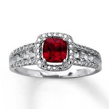 ruby sterling rings images Kay lab created ruby ring cushion cut sterling silver jpg