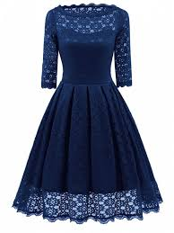 fit and flare dress lace vintage party fit and flare dress blue dresses 2018 xl zaful