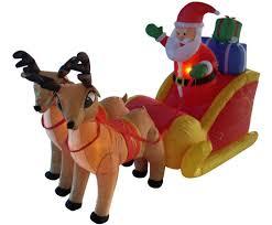 6 foot long christmas inflatable santa on sleigh with reindeer
