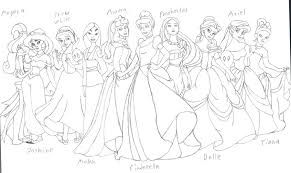 disney princesses group sketch by djfirehawk on deviantart