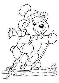 Coloriage dun petit ours avec un bonnet et une écharpe sur des skis
