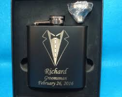 and groom flasks tuxedo flask etsy